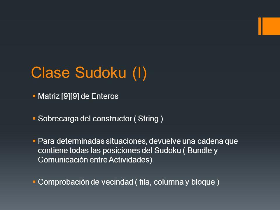 Clase Sudoku (I) Matriz [9][9] de Enteros
